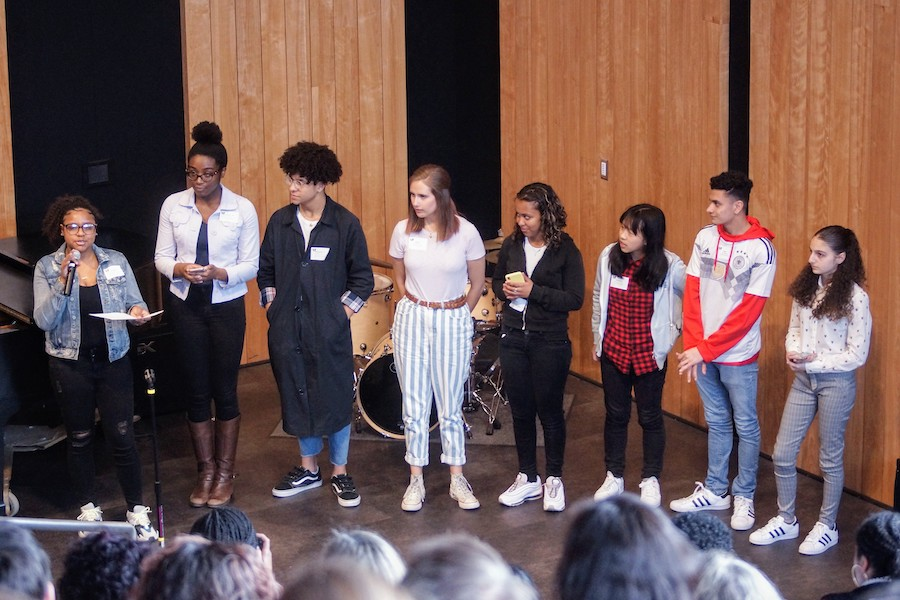 A group of high school students of color present at the Wheeler Diversity Conference