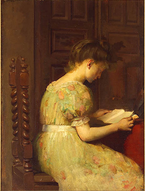 Painting of a young woman reading a book with her back to the artist