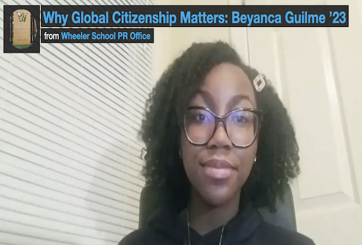 Student on video screen talking about global citizenship